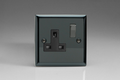 Varilight 1 Gang 13 Amp Switched Electrical Plug Socket Iridium Black Dec Switch Black Insert XI4DB